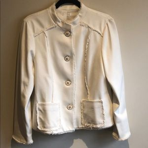 White blazer with gold trim buttons